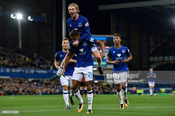 Dominic CalvertLewin celebrates his goa with Tom Davies during the Carabao Cup Third Round match between Everton and Sunderland at Goodison Park on...