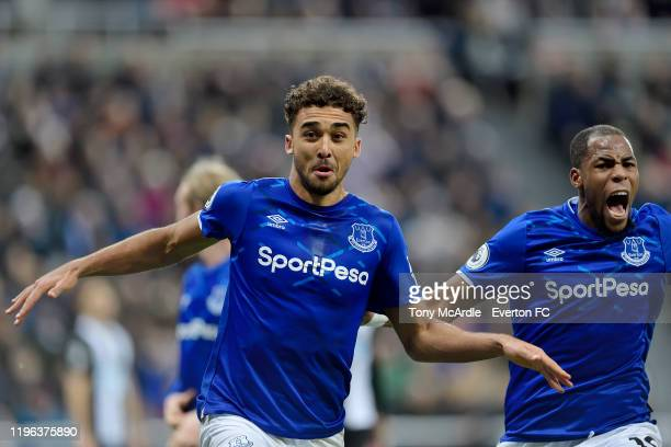 Dominic CalvertLewin celebrates his second goal during the Premier League match between Newcastle United and Everton at St James Park on December 28...