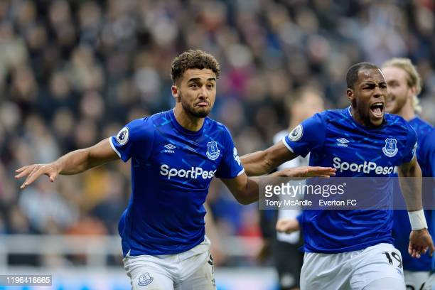 Dominic CalvertLewin celebrates his second goal with Djibril Sidibi during the Premier League match between Newcastle United and Everton at St James...