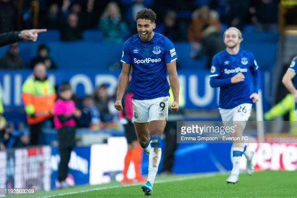 Dominic CalvertLewin celebrates scoring his teams third goal during the Premier League match between Everton FC and Chelsea FC at Goodison Park on...
