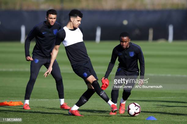 Dominic CalvertLewin Dominic Solanke and Ademola Lookman of England during a training session at Vitality Stadium on March 25 2019 in Bournemouth...