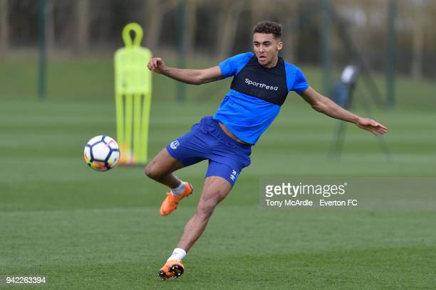 Dominic CalvertLewin during the Everton FC training session at USM Finch Farm on April 5 2018 in Halewood England
