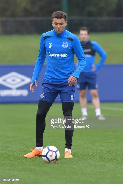 Dominic CalvertLewin during the Everton FC training session at USM Finch Farm on April 12 2018 in Halewood England