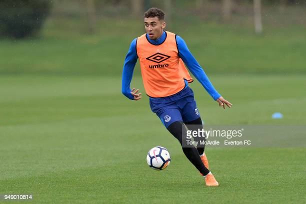 Dominic CalvertLewin during the Everton FC training session at USM Finch Farm on April 17 2018 in Halewood England