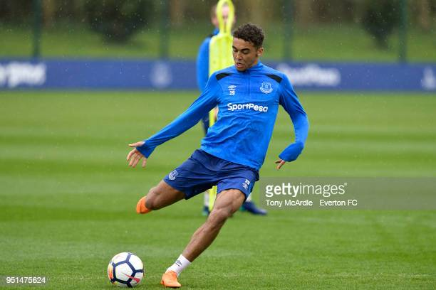 Dominic CalvertLewin during the Everton FC training session at USM Finch Farm on April 26 2018 in Halewood England
