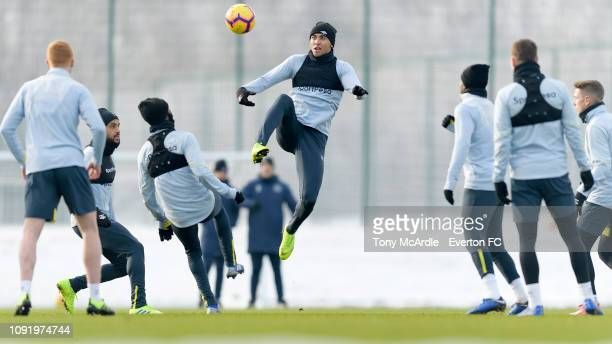 Dominic CalvertLewin during the Everton training session at USM Finch Farm on January 31 2019 in Halewood England