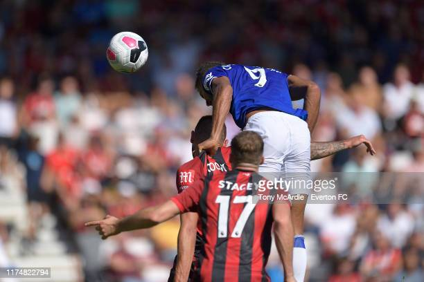 Dominic CalvertLewin heads to score during the Premier League match between AFC Bournemouth and Everton at the Vitality Stadium on September 15 2019...