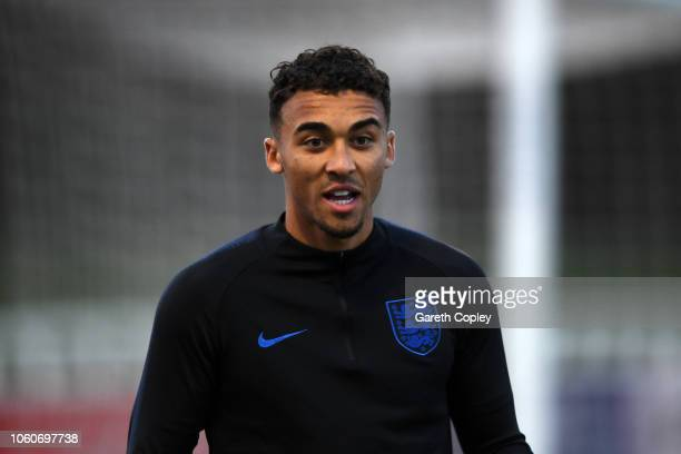 Dominic CalvertLewin looks on during a training session ahead of their international match against Italy at St Georges Park on November 12 2018 in...
