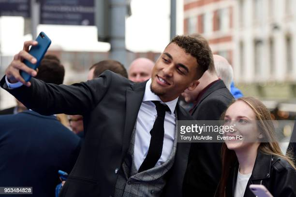 Dominic CalvertLewin meets fans during The Dixies end of season awards at the Royal Liverpool Philharmonic Hall on May 1 2018 in Liverpool England