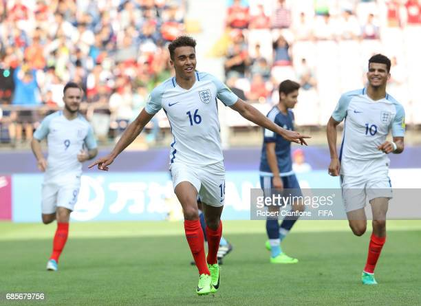 Dominic CalvertLewin of England celebrates after scoring a goal during the FIFA U20 World Cup Korea Republic 2017 group A match between Argentina and...