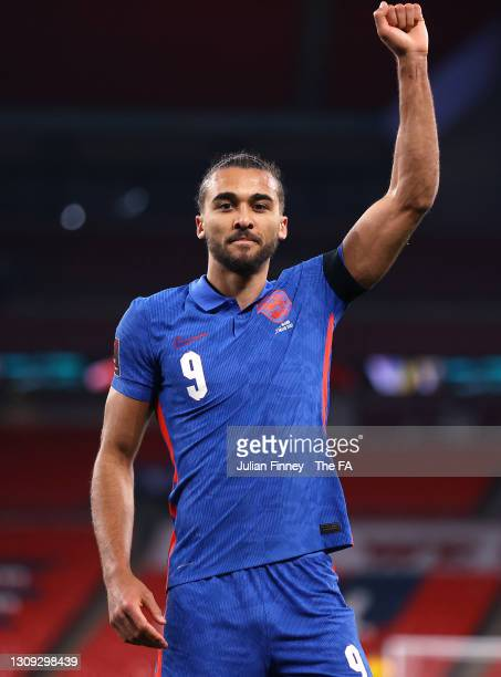 Dominic Calvert-Lewin of England celebrates after scoring during the FIFA World Cup 2022 Qatar qualifying match between England and San Marino on...