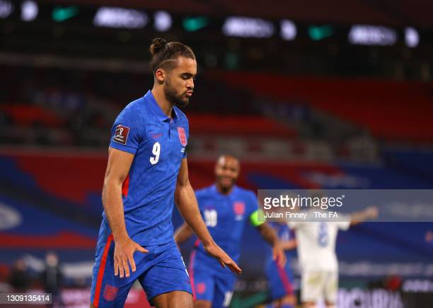 Dominic Calvert-Lewin of England celebrates after scoring his team's second goal during the FIFA World Cup 2022 Qatar qualifying match between...