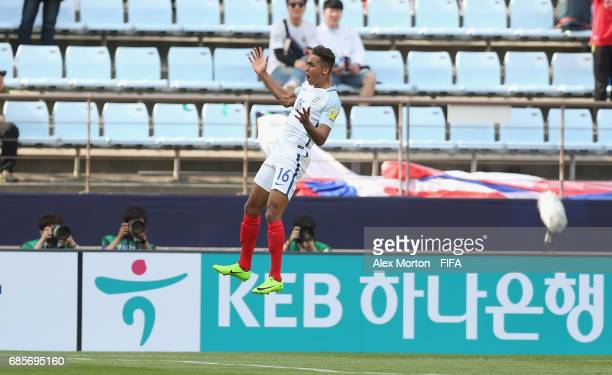 Dominic CalvertLewin of England celebrates after scoring their first goal during the FIFA U20 World Cup Korea Republic 2017 group A match between...
