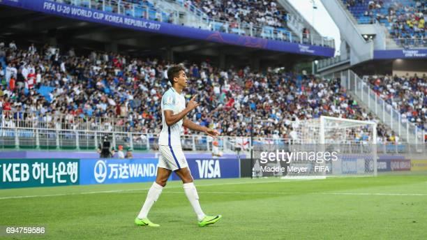 Dominic CalvertLewin of England celebrates as he scores their first goal during the FIFA U20 World Cup Korea Republic 2017 Final between Venezuela...