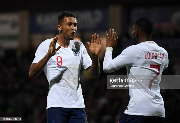 Dominic CalvertLewin of England celebrates scoring the third goal during the 2019 UEFA European Under21 Championship Qualifier between England U21...