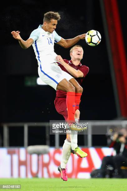 Dominic CalvertLewin of England in action during the UEFA Under 21 Championship Qualifiers between England and Latvia at the Vitality Stadium on...
