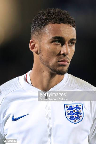Dominic CalvertLewin of England looks on ahead of the 2019 UEFA European Under21 Championship Group 4 Qualifier between England and Andorra at the...
