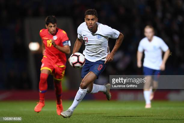 Dominic CalvertLewin of England makes a break during the 2019 UEFA European Under21 Championship Qualifier between England U21 and Andorra U21 at the...