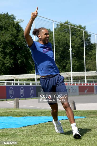 Dominic Calvert-Lewin of England reacts after throwing a basketball at St George's Park on June 08, 2021 in Burton upon Trent, England.
