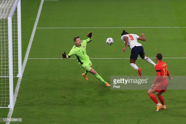 Dominic Calvert-Lewin of England scores his team's first goal during the international friendly match between England and Wales at Wembley Stadium on...