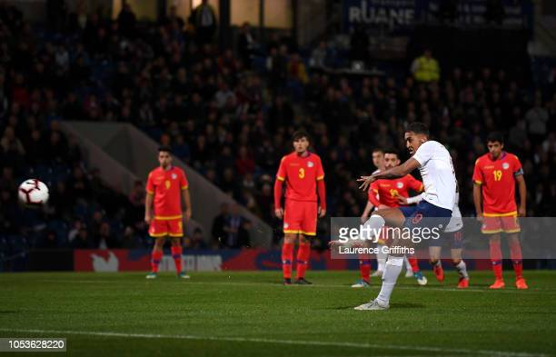 Dominic CalvertLewin of England scores the fourth goal from the penalty spot during the 2019 UEFA European Under21 Championship Qualifier between...