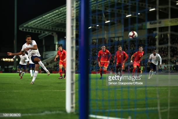 Dominic CalvertLewin of England scores their 4th goal with a penalty during the 2019 UEFA European Under21 Championship Group 4 Qualifier between...