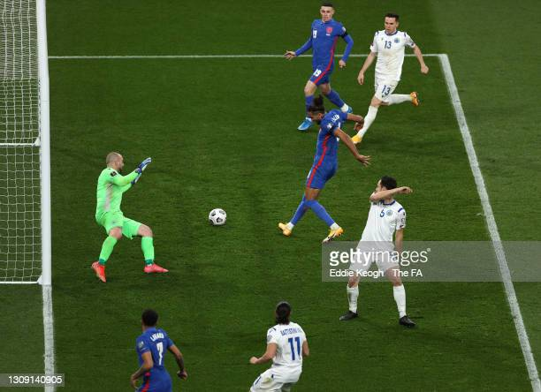 Dominic Calvert-Lewin of England scores their team's fourth goal during the FIFA World Cup 2022 Qatar qualifying match between England and San Marino...