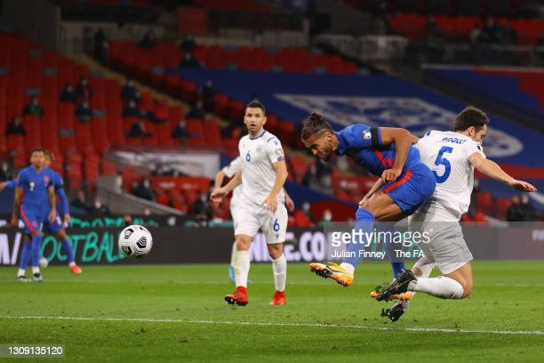 Dominic Calvert-Lewin of England scores their team's second goal during the FIFA World Cup 2022 Qatar qualifying match between England and San Marino...