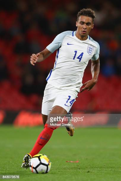 Dominic CalvertLewin of England U21's during the UEFA Under 21 Championship Qualifier match between England and Latvia at the Vitality Stadium on...