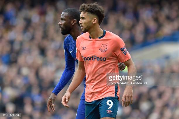 Dominic Calvert-Lewin of Everton and Antonio Rudiger during the Premier League match between Chelsea and Everton at Stamford Bridge on March 8, 2020...