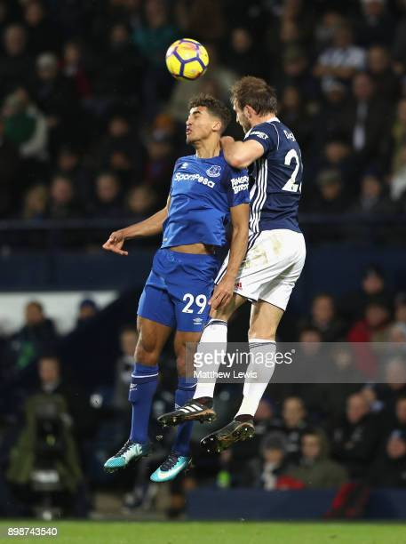 Dominic CalvertLewin of Everton and Craig Dawson of West Bromwich Albion in action during the Premier League match between West Bromwich Albion and...