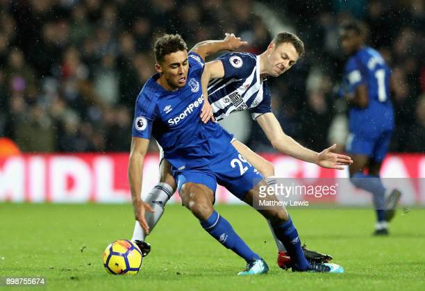 Dominic CalvertLewin of Everton and Jonny Evans of West Bromwich Albion in action during the Premier League match between West Bromwich Albion and...