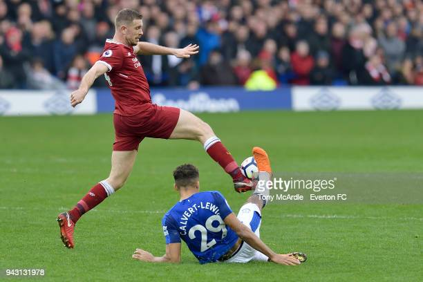 Dominic CalvertLewin of Everton and Jordan Henderson challenge for the ball during the Premier League match between Everton and Liverpool at Goodison...