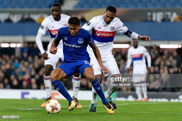 Dominic CalvertLewin of Everton and Marcelo challenge for the ball during the UEFA Europa League group E match between Everton and Olympique Lyon at...