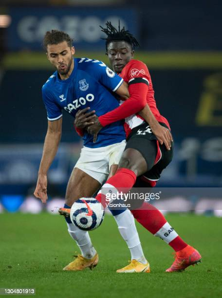Dominic Calvert-Lewin of Everton and Mohammed Salisu of Southampton in action during the Premier League match between Everton and Southampton at...