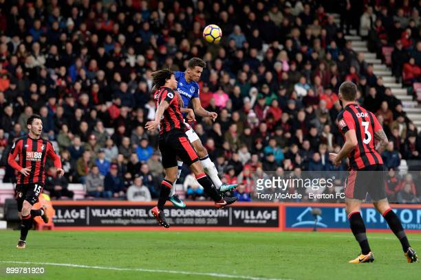Dominic CalvertLewin of Everton and Nathan Ake challenge for the ball during the Premier League match between AFC Bournemouth and Everton at the...