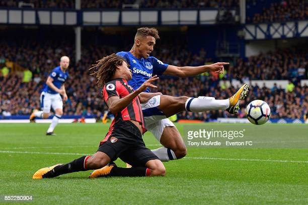 Dominic CalvertLewin of Everton and Nathan Ake during the Premier League match between Everton and AFC Bournemouth at Goodison Park on September 23...