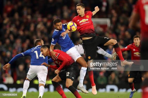 Dominic CalvertLewin of Everton and Nemanja Matic of Manchester United during the Premier League match between Manchester United and Everton FC at...