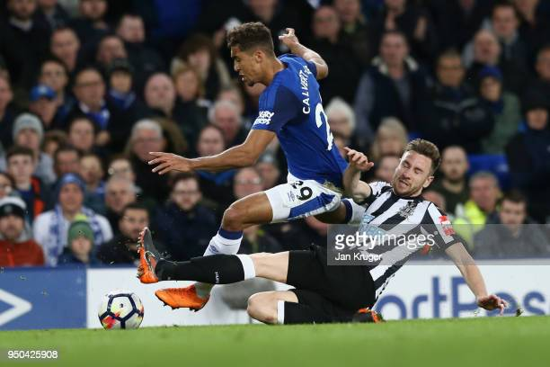 Dominic CalvertLewin of Everton and Paul Dummett of Newcastle United in action during the Premier League match between Everton and Newcastle United...