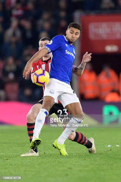 Dominic CalvertLewin of Everton and PierreEmile Hojbjerg challenge for the ball during the Premier League match between Southampton FC and Everton FC...