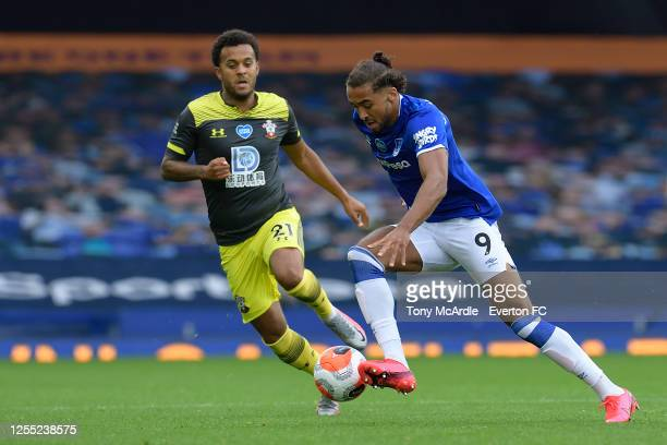 """Dominic Calvert-Lewin of Everton and """"""""Ryan Bertrand during the Premier League match Everton and Southampton at Goodison Park on July 9 2020 in..."""