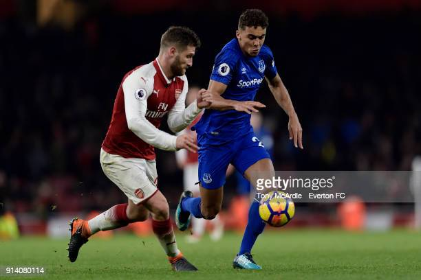 Dominic CalvertLewin of Everton and Shkodran Mustafi challenge for the ball during the Premier League match between Arsenal and Everton at Emirates...