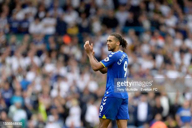 Dominic Calvert-Lewin of Everton applauds the travelling fans during the Premier League match between Leeds United and Everton at Elland Road on...