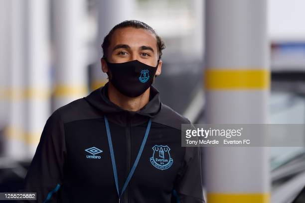 Dominic Calvert-Lewin of Everton arrives before the Premier League match Everton and Southampton at Goodison Park on July 9 2020 in Liverpool,...