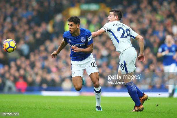 Dominic CalvertLewin of Everton attempts to get past Cesar Azpilicueta of Chelsea during the Premier League match between Everton and Chelsea at...