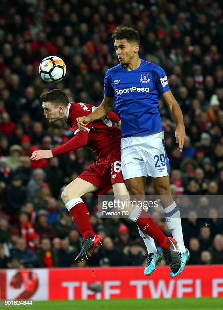 Dominic CalvertLewin of Everton battles with Andrew Robertson of Liverpool during the Emirates FA Cup third round match between Liverpool and Everton...