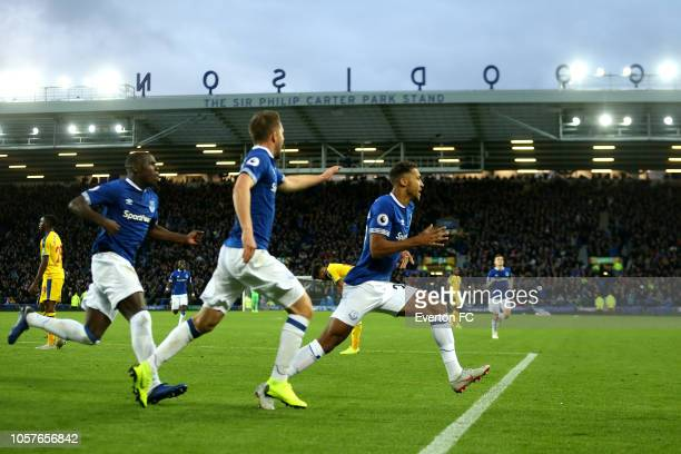 Dominic CalvertLewin of Everton celebrates after he scores his sides first goal during the Premier League match between Everton FC and Crystal Palace...