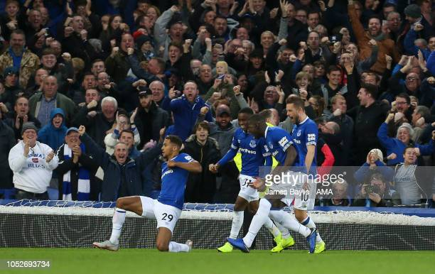 Dominic CalvertLewin of Everton celebrates after scoring a goal to make it 10 during the Premier League match between Everton FC and Crystal Palace...