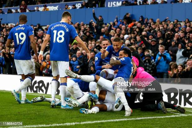 Dominic CalvertLewin of Everton celebrates after scoring a goal to make it 20 during the Premier League match between Everton FC and Chelsea FC at...