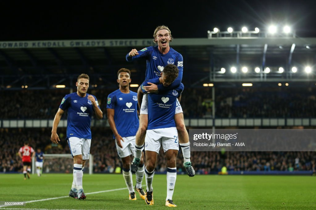 Dominic Calvert-Lewin of Everton celebrates after scoring a goal to make it 1-0 during the Carabao Cup Third Round match between Everton and Sunderland at Goodison Park on September 19, 2017 in Liverpool, England.